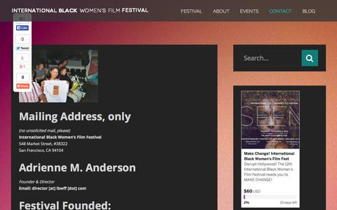 Screenshot of Contact Page ibwff.com - Contact | INTERNATIONAL BLACK WOMEN'S FILM FESTIVAL - captured Oct. 27, 2014