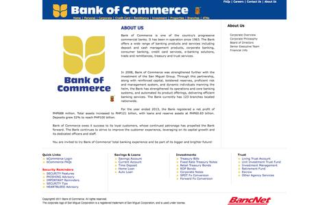 Screenshot of About Page bankcom.com.ph - Bank of Commerce Website - captured Nov. 3, 2014