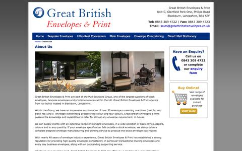 Screenshot of About Page greatbritishenvelopes.co.uk - Great British Envelopes & Print | About Us | Stock, Bespoke, Printed Envelopes - captured Oct. 3, 2014