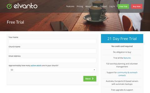 Screenshot of Trial Page elvanto.com - Free Trial | Elvanto - Church Management Software - captured Jan. 29, 2018