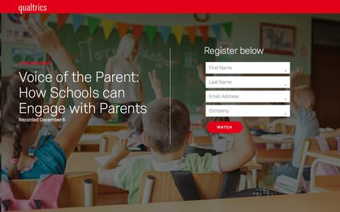 Screenshot of Landing Page qualtrics.com - Qualtrics | Voice of the Parent: How Schools can Engage with Parents - captured Feb. 2, 2017