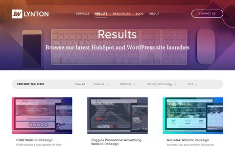 Screenshot of Case Studies Page lyntonweb.com - Results   Inbound Marketing Websites   Technology - captured July 15, 2019