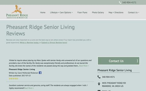 Screenshot of Testimonials Page milestoneretirement.com - Senior Living Resources | Pheasant Ridge Senior Living - captured Feb. 3, 2018