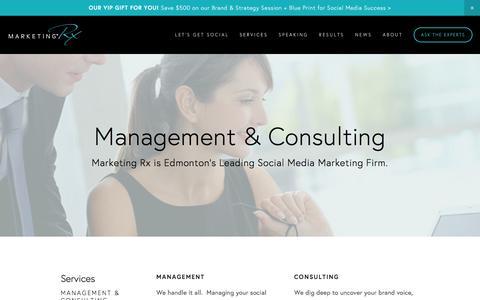 Screenshot of Services Page marketingrx.ca - Management & Consulting — Marketing RX - captured Nov. 27, 2016