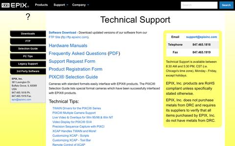 Screenshot of Support Page epixinc.com - EPIX® Support - captured May 13, 2017