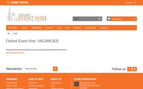 Screenshot of Jobs Page oxfordeventhire.co.uk - Jobs - Oxford Event Hire Ltd - captured Aug. 16, 2016