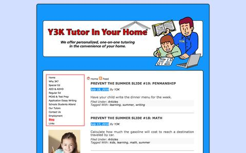 Screenshot of Blog y3ktutorinyourhome.com - Blog | Y3K Tutor In Your Home - captured July 19, 2016