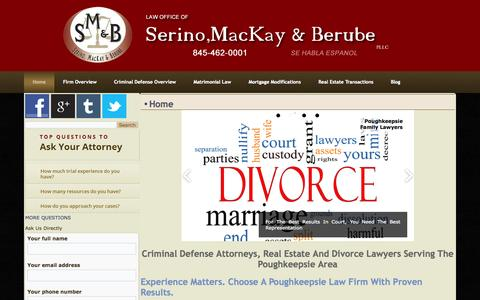 Screenshot of Home Page smandb.com - Poughkeepsie Divorce Lawyers - captured Jan. 26, 2015