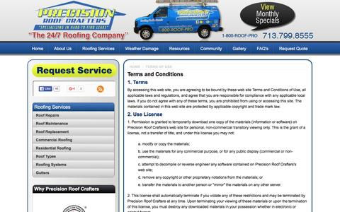Screenshot of Terms Page precisionroofcrafters.com - Precision Roof Crafters | Terms and Conditions - captured Jan. 30, 2016