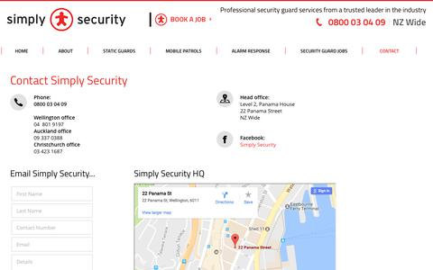 Screenshot of Contact Page simplysecurity.co.nz - Simply Security Auckland Alarm Response Wellington NZ - captured June 13, 2017