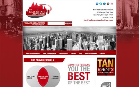 Screenshot of Home Page nycrealestateadvisors.com - Real Estate Business Training! Offering a wide range of topics and expertise! - captured Sept. 30, 2014