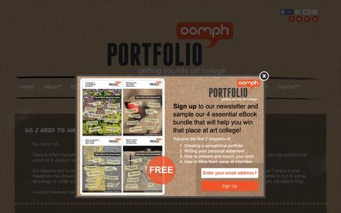 Screenshot of FAQ Page portfolio-oomph.com - FAQs for your art college portfolio - captured Dec. 10, 2015