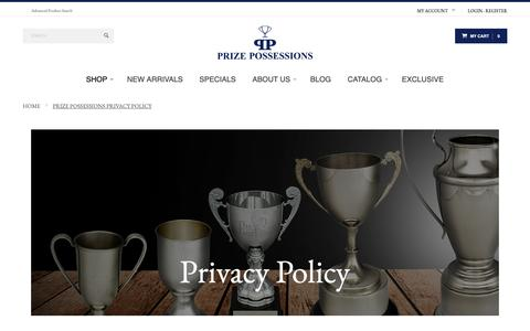 Screenshot of Privacy Page prizepossessions.com - Prize Possessions Privacy Policy - captured Nov. 11, 2018