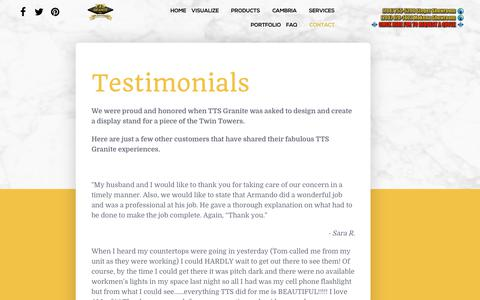 Screenshot of Testimonials Page ttsgranite.com - Testimonials - captured Nov. 7, 2018
