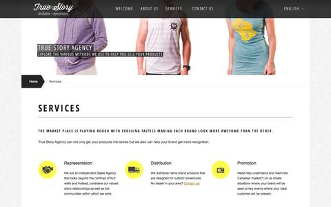 Screenshot of Services Page truestoryagency.ca - True Story Agency | Services we offer - captured Oct. 9, 2014