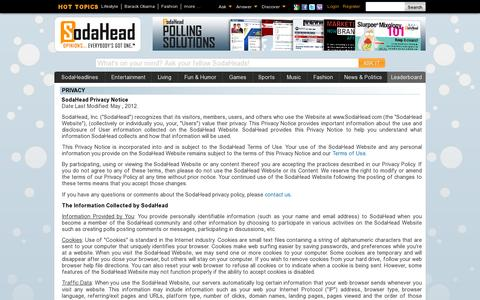 Screenshot of Privacy Page sodahead.com - SodaHead.com - Privacy - captured July 20, 2014