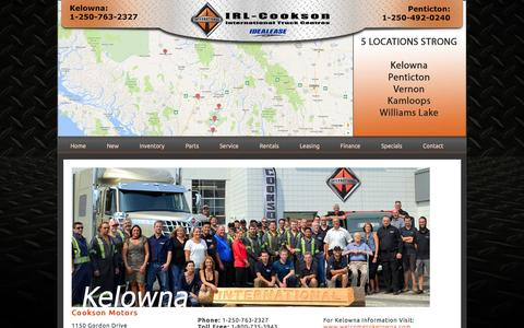 Screenshot of Locations Page cooksonmotors.com - IRL - Cookson - Used International Trucks Kelowna, Penticton, Vernon, Williams Lake, Kamloops - captured Nov. 11, 2016