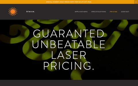 Screenshot of Pricing Page blazze.com.au - BLAZZE - Laser Cutting & Engraving Sydney Ultimo CBD / student pricing - paper, leather, fabric, acrylic, timber — Guaranted UNBEATablE LASER Pricing. - captured Feb. 12, 2016