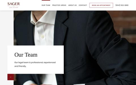 Screenshot of Team Page sagerllp.com - Our Team - Boutique Law Firm in West Vancouver - Sager LLP - captured Oct. 2, 2018