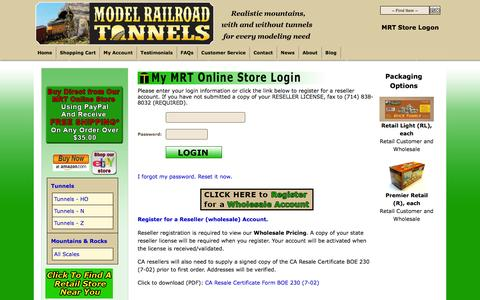 Screenshot of Login Page modelrailroadtunnels.com - Account Login - captured Jan. 10, 2016