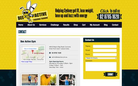 Screenshot of Contact Page beeactive.com.au - Contact Us | BeeActive Personal Training - captured Oct. 5, 2014