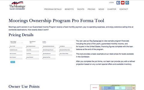 Screenshot of Pricing Page mooringsyachtownership.com - Moorings Ownership Program Pro Forma Tool | Moorings Ownership - captured July 10, 2018
