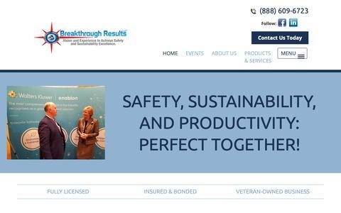 Screenshot of Home Page breakthroughresults.org - Safety Culture | Bradenton, Florida - captured Nov. 12, 2018
