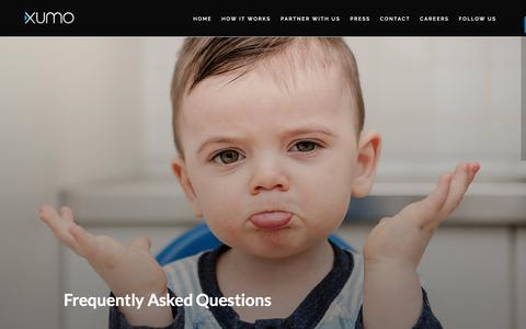 Screenshot of FAQ Page xumo.com - Xumo  » Frequently Asked Questions - captured Aug. 18, 2016