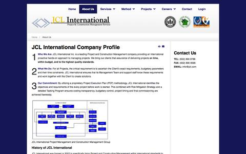 Screenshot of About Page jcli.com - Company Profile - project-management - JCL International - captured Oct. 31, 2014
