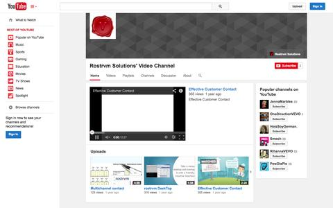 Screenshot of YouTube Page youtube.com - Rostrvm Solutions' Video Channel  - YouTube - captured Oct. 26, 2014