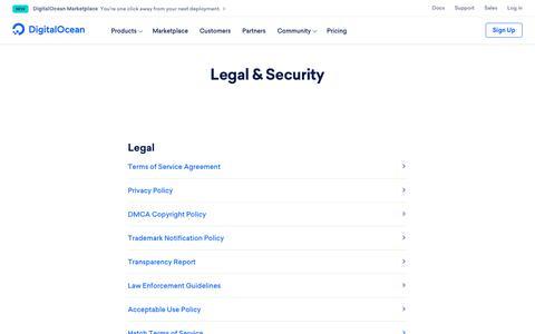 Screenshot of Terms Page digitalocean.com - Legal & Security on DigitalOcean - captured March 14, 2019