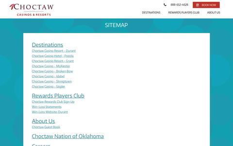 Screenshot of Site Map Page choctawcasinos.com - Sitemap - captured Nov. 5, 2016