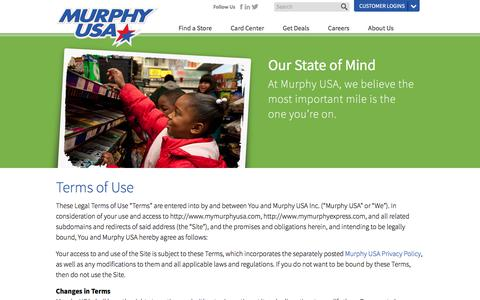 Screenshot of Terms Page murphyusa.com - Terms of Use - captured July 28, 2017