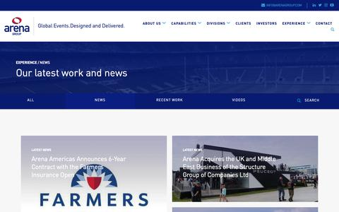Screenshot of Press Page arenagroup.com - News from high-quality temporary event infrastructure experts Arena Group - captured Oct. 4, 2018