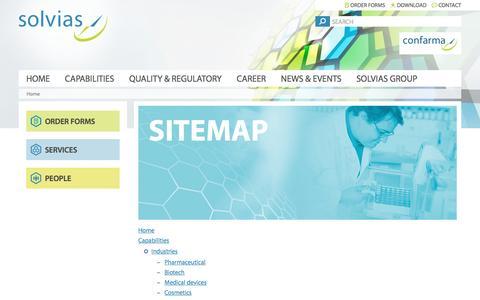Screenshot of Site Map Page solvias.com - Sitemap – Solvias - captured Dec. 1, 2016