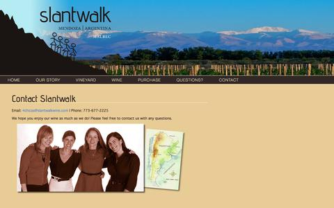 Screenshot of Contact Page slantwalkwine.com - Contact Slantwalk - Slantwalk Wine - captured June 14, 2017
