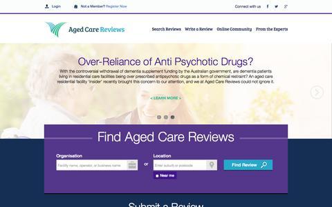 Screenshot of Home Page agedcarereviews.com.au - In-Home & Aged Care Facilties | Aged Care Reviews Pty Ltd - captured Sept. 30, 2014