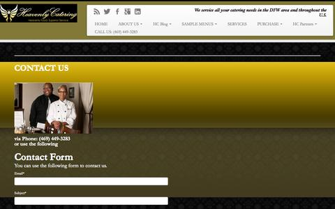 Screenshot of Contact Page heavenlycateringdfw.com - CONTACT US | Dallas Catering Service - captured Nov. 1, 2014