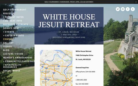 Screenshot of Contact Page whretreat.org - Contact — WHITE HOUSE JESUIT RETREAT - captured Feb. 14, 2016