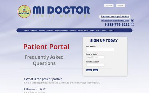 Screenshot of Signup Page FAQ Page clinicasmidoctor.com - FAQ - Clinicas Mi Doctor - captured Sept. 24, 2016