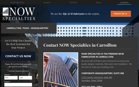 Screenshot of Contact Page Locations Page nowspecialties.com - Contact: NOW Specialties in Carrollton, TX | NOW Specialties - captured Nov. 15, 2018