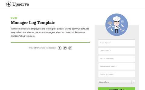 Screenshot of Landing Page upserve.com - Restaurant Manager's Log Template | Upserve - captured April 27, 2018