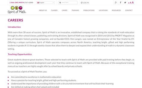 Screenshot of Jobs Page spiritofmath.com - Careers | Spirit of Math Schools - captured Dec. 1, 2016