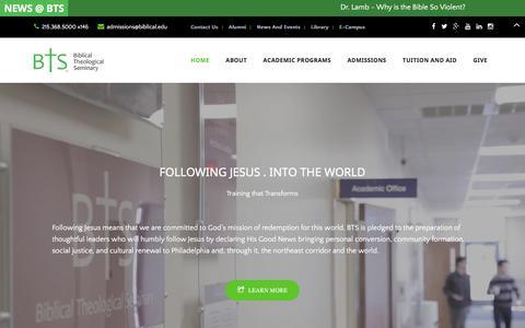 Screenshot of Home Page biblical.edu - Training that Transforms | Biblical Seminary - captured Sept. 8, 2017