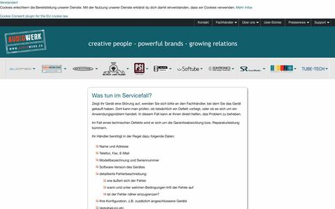 Screenshot of Support Page audiowerk.eu - Audiowerk: Übersicht - captured Oct. 29, 2018