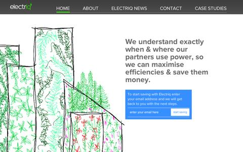 Screenshot of Home Page electriq.com - Electriq - captured Dec. 8, 2015
