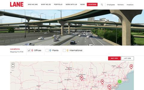 Screenshot of Contact Page Locations Page laneconstruct.com - Locations | The Lane Construction Corporation - captured Dec. 1, 2016