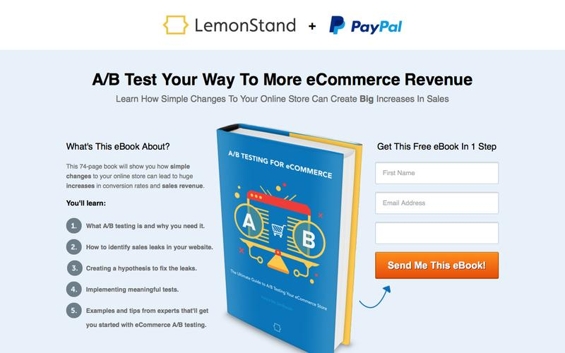 A/B Testing for eCommerce, Free eBook | by LemonStand and PayPal