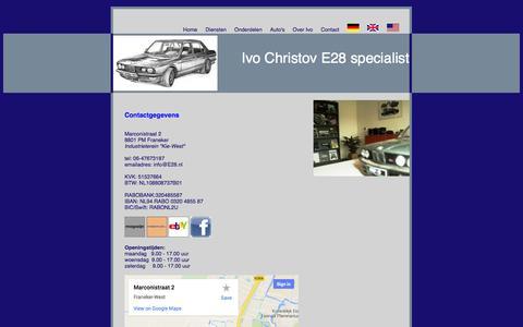 Screenshot of Contact Page e28.nl - Ivo Christov E28 specialist Franeker voor al uw jaren '80 BMW onderdelen - captured Oct. 6, 2014