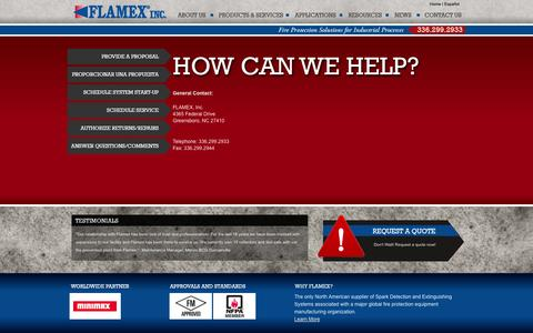 Screenshot of Contact Page sparkdetection.com - Contact Us for More Information | Flamex Spark Detection & Extinguishing Systems - captured Oct. 5, 2014